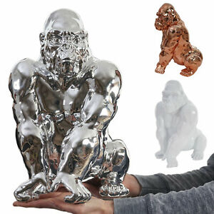 Deko Figur Gorilla 40cm, Polyresin Skulptur Affe In ...