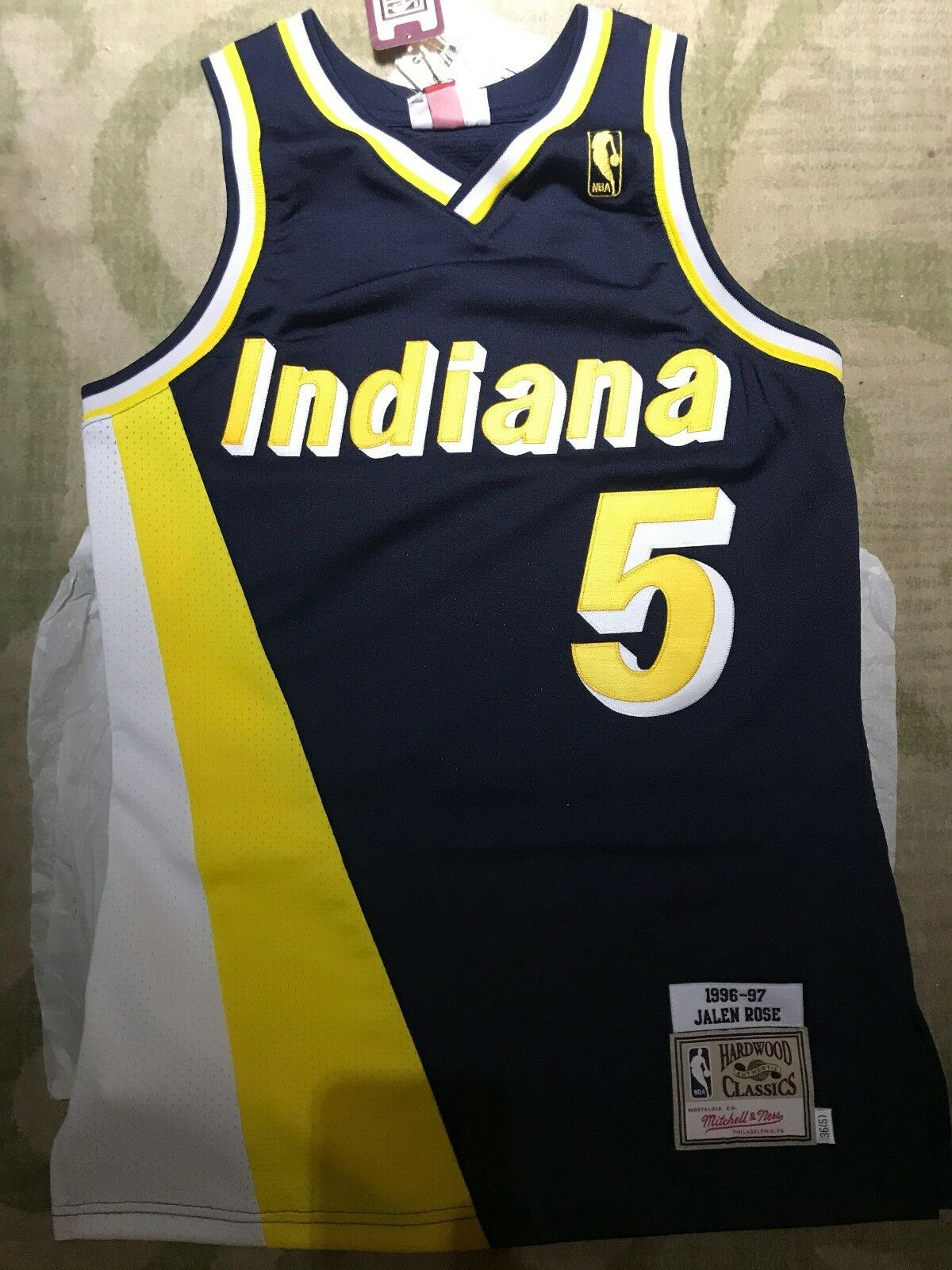 Mitchell & Ness Jalen Rose Indiana Pacers Authentic Größe 36 S Small NEW  RARE
