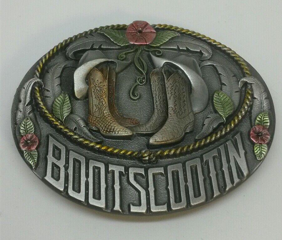 ☆ NEW Bootscootin line dancing /western cowboy theme pewter belt buckle Bergamot