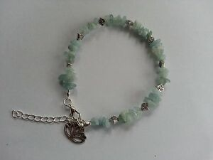 Aquamarine Gemstone Chips Lotus Flower Anklet Ankle Bracelet Uk