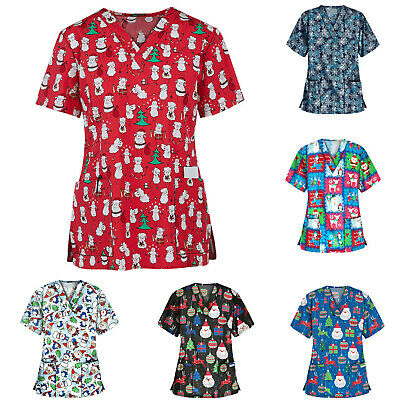 Women/'s Nursing Scrub Tops Printed Medical Uniform Christmas Flower Shirt Comfy