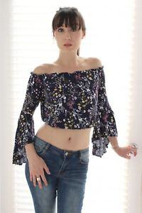 5aedcf21cad0a Image is loading Cropped-Floral-Bell-Sleeve-Off-Shoulder-Top-Pink-
