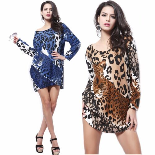 Womens Long Sleeve Animal Leopard Print Loose Fit Top Size 12-14