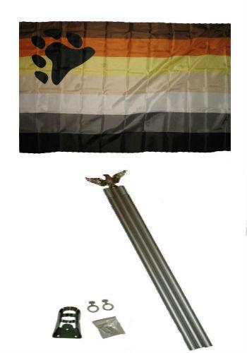 3x5 Gay Pride Gadsden Rainbow Flag w 6/' Ft Aluminum Flagpole Kit