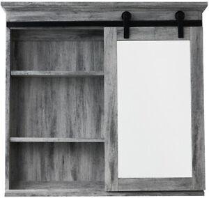 31 X 29 Inch Barn Door Medicine Cabinet Wood Washed Gray Grey Rustic Bathroom 6948958656754 Ebay