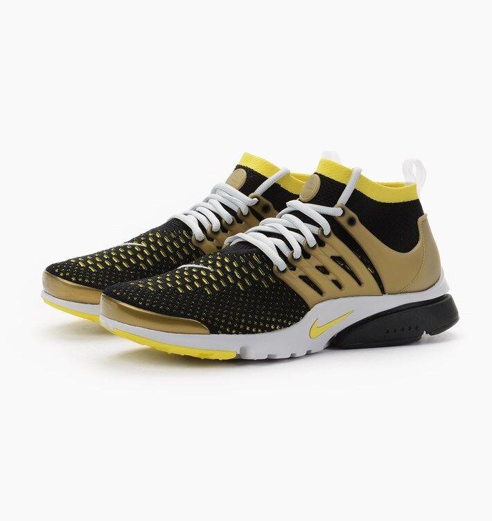 Nike Hombres Presto Ultra Flyknit tenis Negro Amarillo Air Oro tenis Flyknit 835570 007 ; 11 850c02