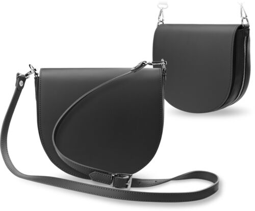 halbrunde Leder Damentasche Schultertasche Umhängetasche mit Klappe grau