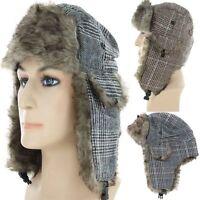 Trapper Bomber Aviator Russian Trooper Fur Earflap Winter Ski Hat Mens Womens