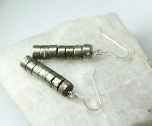 Pyrite-Cylinder-Shape-Gold-Natural-Gemstone-925-Sterling-Silver-Earrings-1-3-4-034