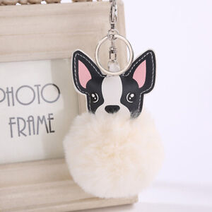 Ball-French-Bulldog-Keychain-Pompom-Key-Ring-Cute-Holder-Bags