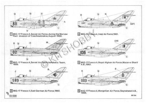 Hi-Decal 1//72 Mikoyan MiG-17 Fresco Decal