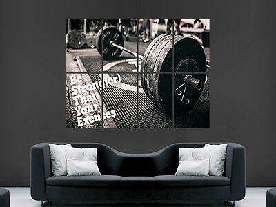 Photo Weightlifting Gym Fitness Weight Plates Giant Wall Art Poster Print