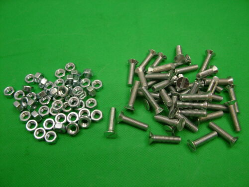 pack of 50 countersunk slot bolt bolts screw Machine screws with nuts M6 x 25