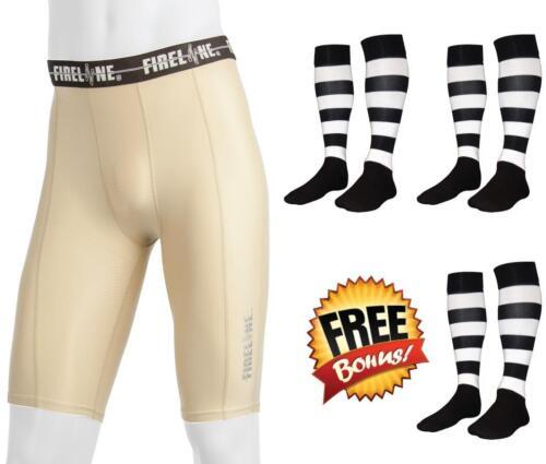 Mens Youth Compression Shorts Football Running Skins Training Pants Footy Socks