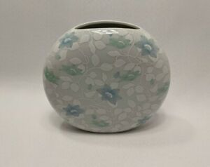 Vintage Otagiri Blue Green White Porcelain Round Bud Vase Symphony Japan Flower