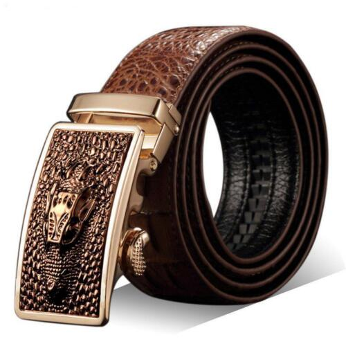 Fashion Casual Men/'s leather belts Faux Crocodile Ceinture en cuir hommes Crocodile Hea