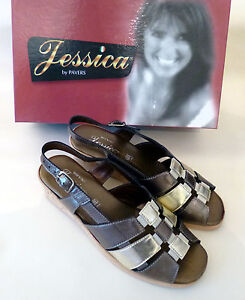 Jessica-Pavers-Leather-Ladies-Wedge-Sandals-Slingback-Gold-Size-5-NEW-BOX