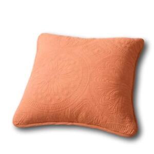 Tache Tuscany Solid Peach Orange Cotton Matelasse Cushion Throw