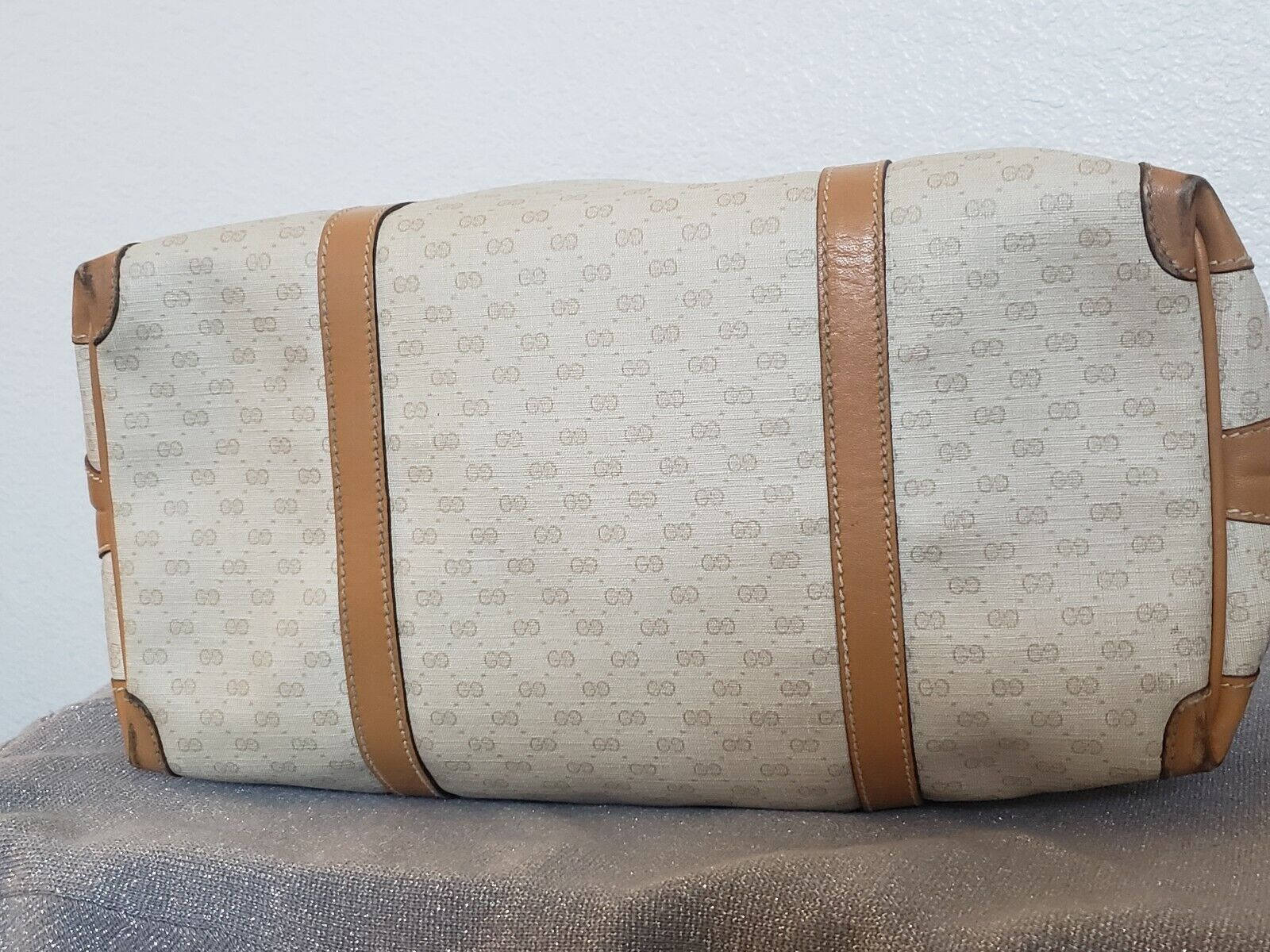 Vtg Gucci Tan GG Monogram Signature Boston Doctor… - image 11