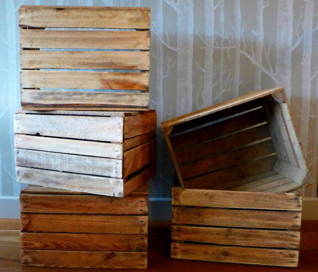 Best Wooden Apple Crates Fruit Boxes Home Decor Rustic Vintage Display Shelf