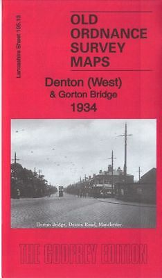 OLD ORDNANCE SURVEY MAP DENTON WEST GORTON BRIDGE 1934 MANCHESTER REDDISH