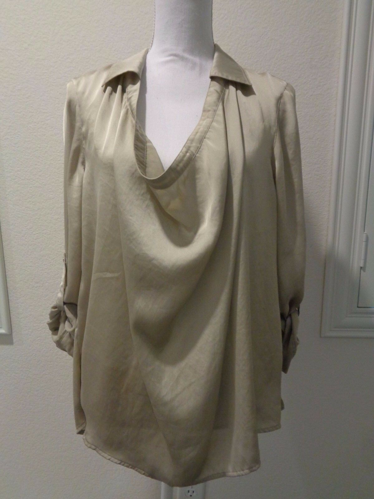 VINCE sateen taupe scoop neck tunic blouse top shirt  SZ 12-NWT