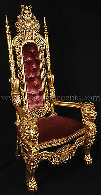 Carved Mahogany King Lion Gothic Throne Chair Gold Paint with Purple Velvet
