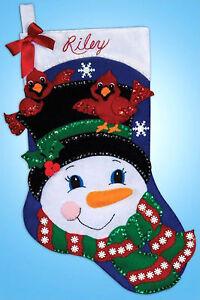 "Design Works Felt Jewel Stocking Kit  SNOWMAN AND CARDINALS 16/"""