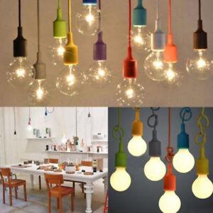Image is loading E27-Silicone-Light-Bulb-Holder-Home-Ceiling-Pendant- & E27 Silicone Light Bulb Holder Home Ceiling Pendant Lamp Hanging ...