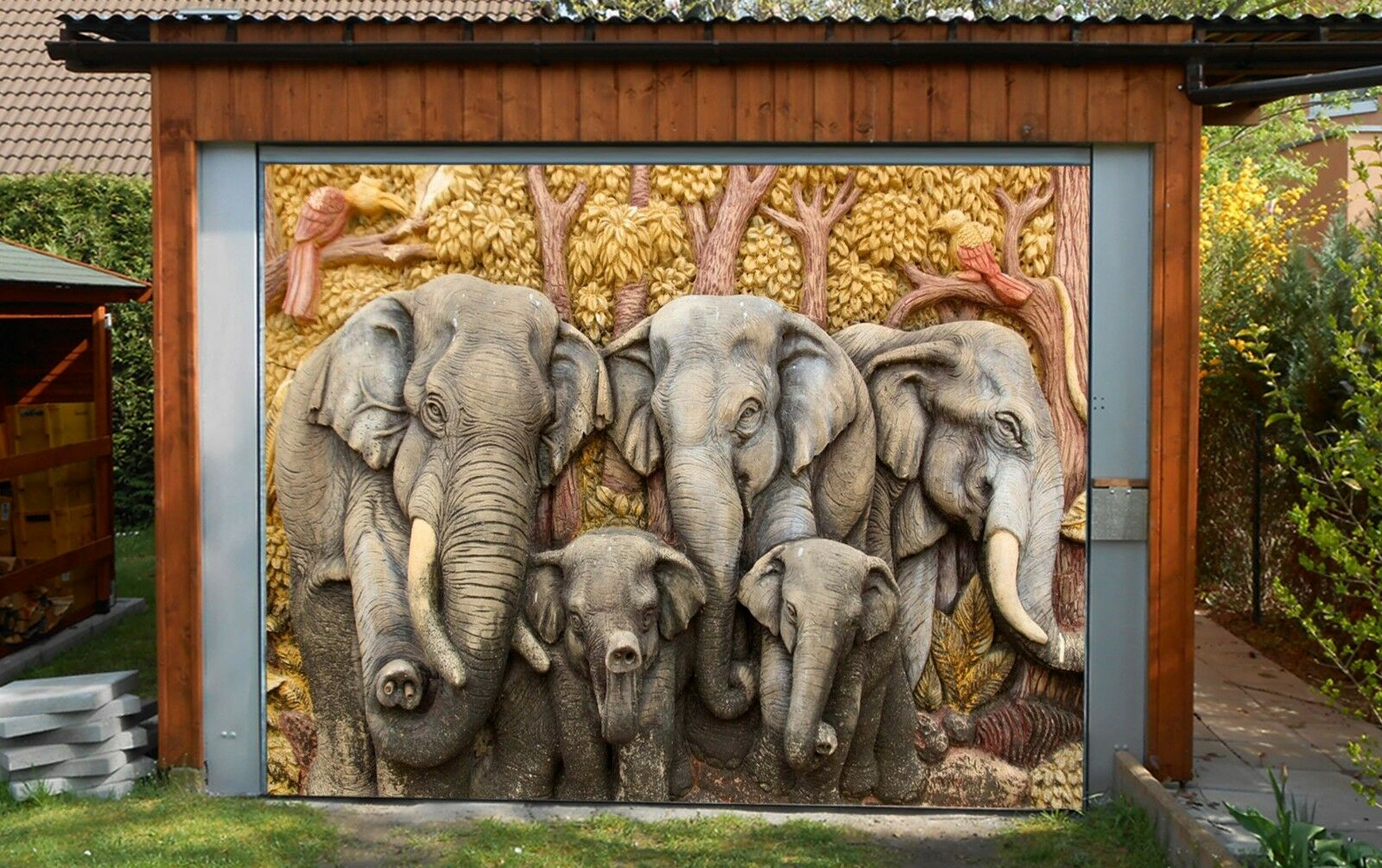 3D Many Elephants  Garage Door Murals Wall Print Decal Wall Deco AJ WALLPAPER AU