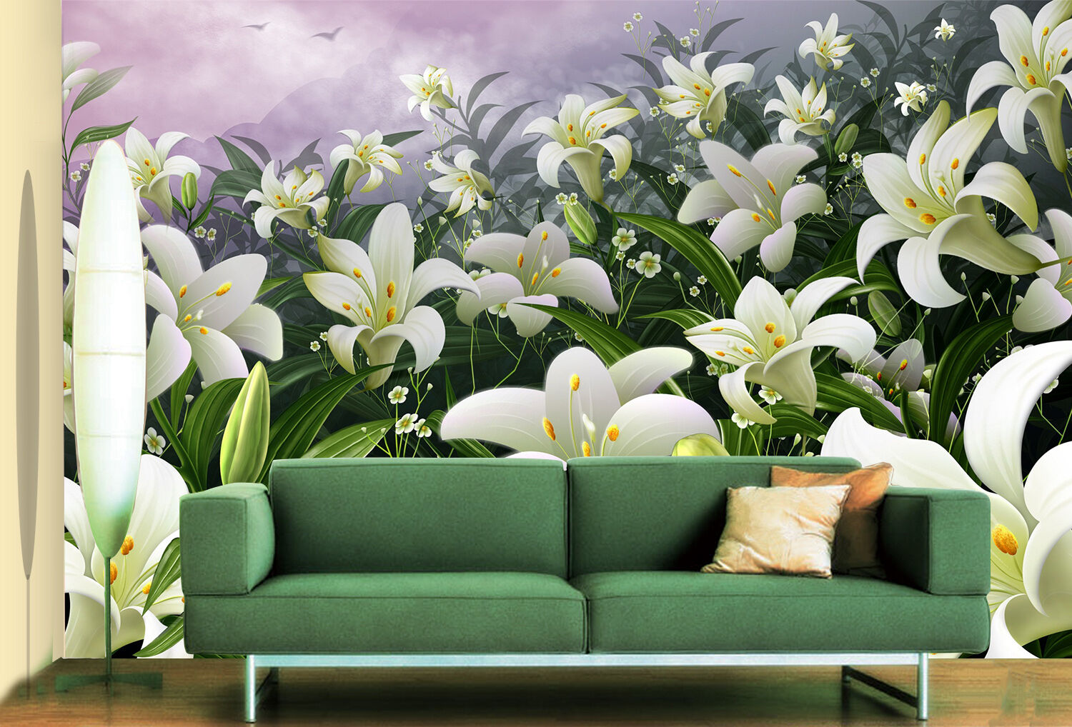 3D Lily Louts Flower 146 Wall Paper Decal Dercor Home Kids Nursery Mural  Home