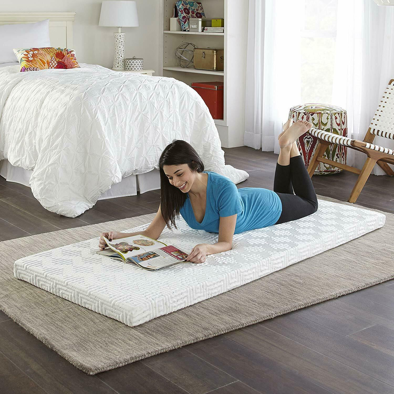 "3/"" Folding Twin Size Memory Foam Mattress Topper Guest Bed Camping Floor Sofa"