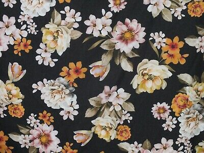 Koshibo Crepe Dress Fabric Pretty Lily Flowers Floral 140cm Wide