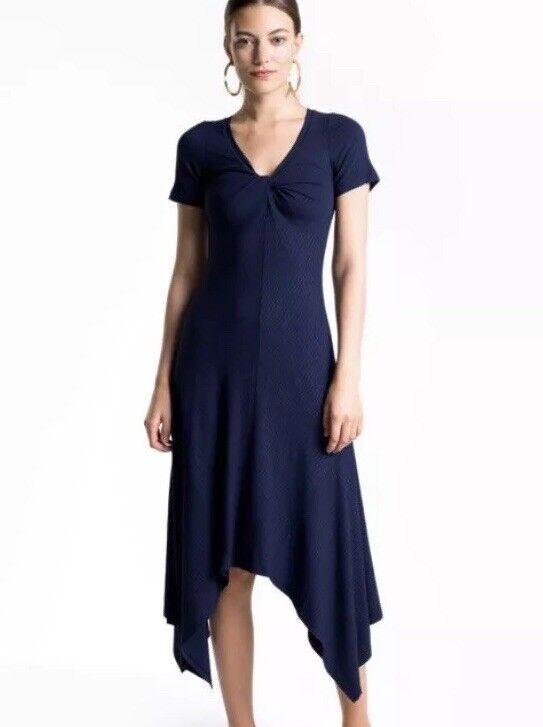 ALC XS Extra Small Reva Navy bluee Ribbed Short Sleeve Asymmetrical Dress AS IS