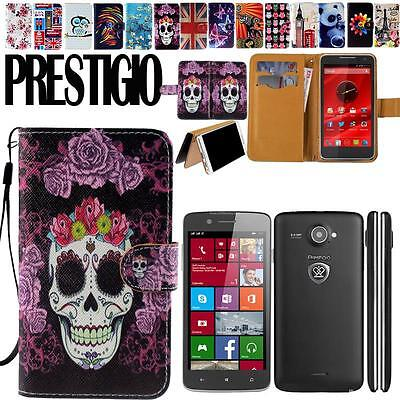 Stand Flip Folio Card Wallet Leather Cover Case For Various Prestigio Multiphone