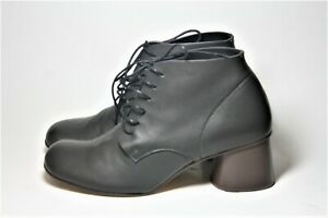 FAUSTO-SANTINI-SHOES-CHARCOAL-GRAY-LEATHER-LACE-UP-BOOTIES-ANKLE-BOOT-37-ITALY