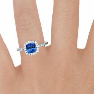 2.65 Ct Real Diamond Blue Sapphire Engagement Rings 950 Platinum Size M1/2 N O P