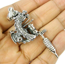 DRAGON DIAMOND TATTOO MACHINE GUN STERLING 925 SILVER MENS BIG PENDANT