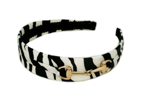 Silk Zebra Print Hair Accessory Black and White w// Gold Mia Fashion Headband