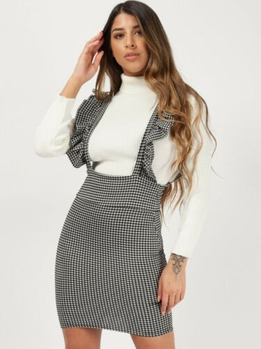 Women/'s Ladies Frill Detail Monochrome Check Dogtooth Print Pinafore Mini Dress