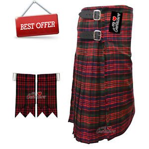 Scottish-Clan-MacDonald-Men-039-s-8-Yard-Tartan-Kilt-With-Flashes-Premium-Quality