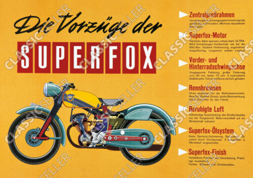 NSU SUPERFOX Motorcycle Poster Poster Picture Sign Deco Super Fox PANEL INFO