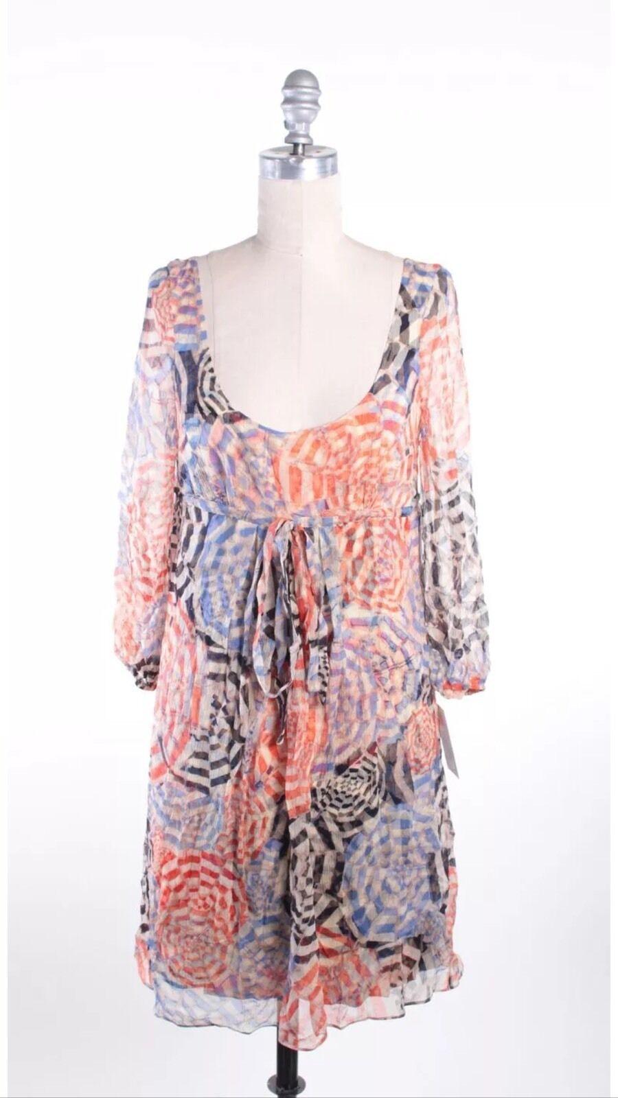 NWT DIANE VON FURSTENBERG bluee orange Silk Dorma Shift Dress Size 4