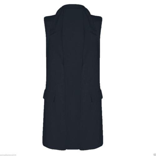 Femme Casual Mock poche Sans Manches Crêpe Gilet Femmes Blazer Top UK 8-26