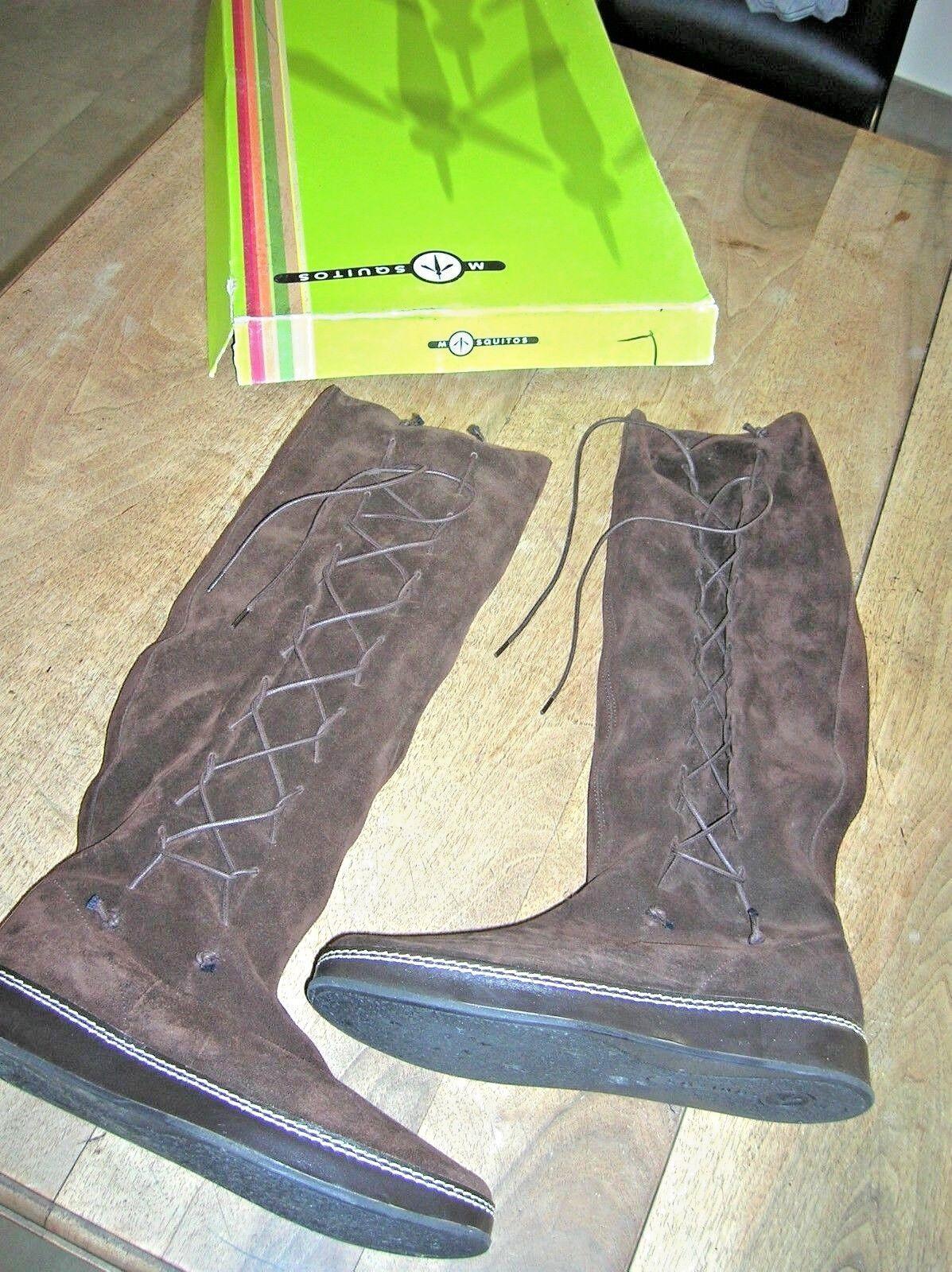 MOSQUITOS Botte cuir velour marrón NEUVE Plateau Valeur 2cm Valeur Plateau 220E Pointure 36 68c0c5