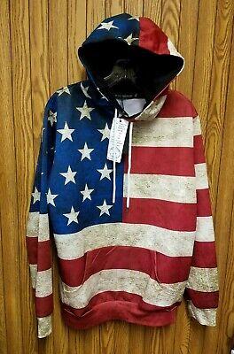 Men/'s Medium American Flag Patriotic Long Sleeve Pullover Hoodie Front Pocket