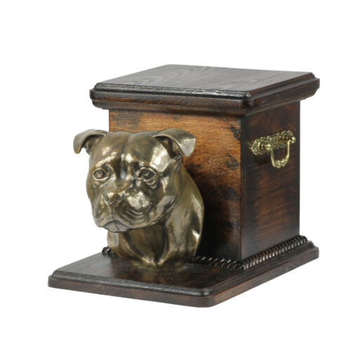 kind2 UK Staffordshire Bull Terrier ArtDog dog urn made of cold cast bronze