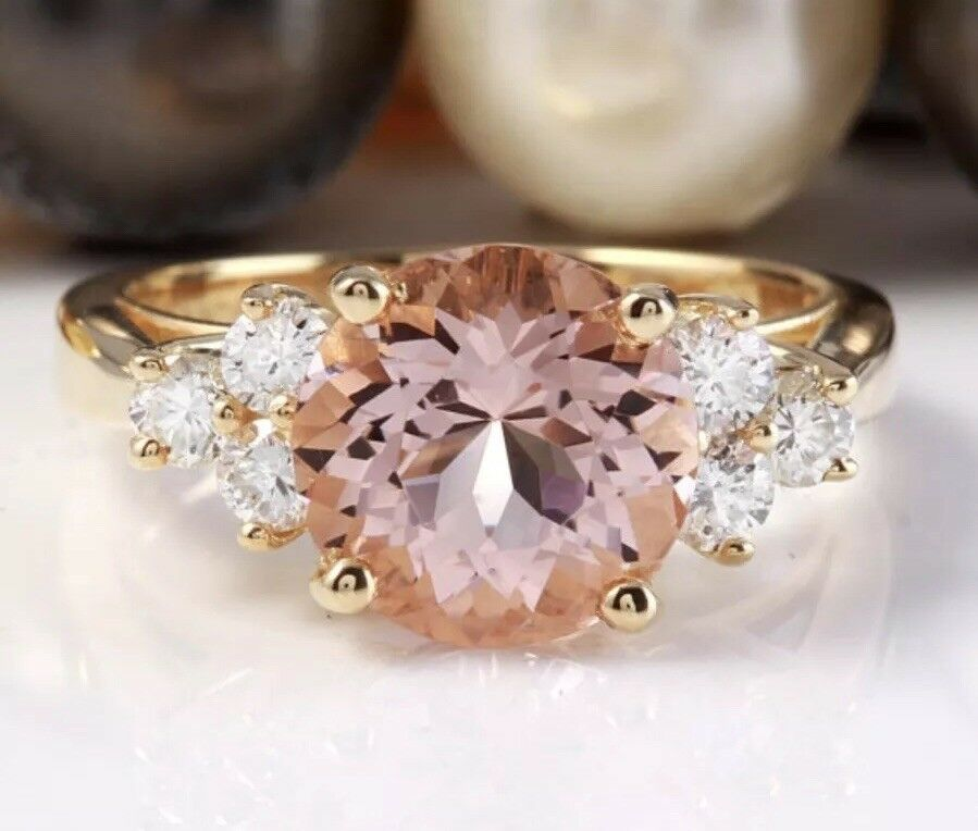 3.12 Ct Natural Peach MORGANITE and DIAMOND in 14K Solid Yellow gold Women Ring