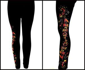 REGULAR-or-PLUS-SIZE-LONG-LEGGINGS-Embellished-Rhinestone-amp-Stud-Autumn-Leaves