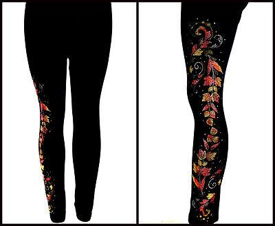 REGULAR or PLUS SIZE LONG LEGGINGS Embellished Rhinestone & Stud Autumn Leaves